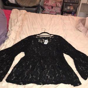 Black lace stretch top